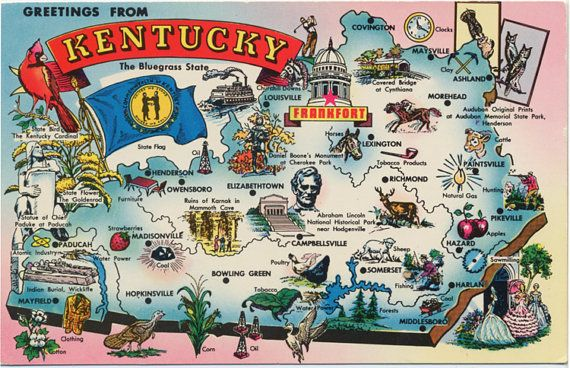 Kentucky State Map Vintage Chrome Greetings Postcard, $5.00