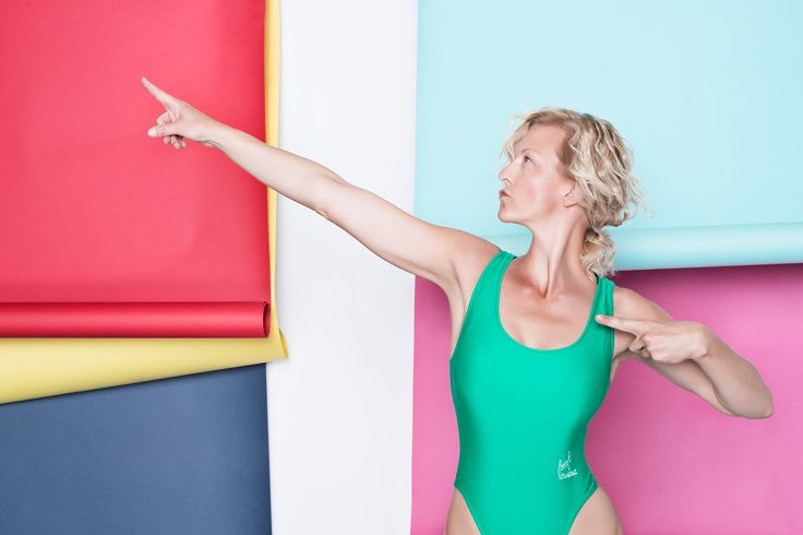 Aerobic woman color background
