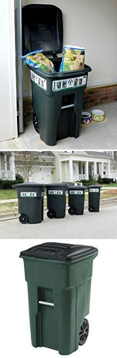 Toter Trash Can. Toter 025532-R1GRS Residential Heavy Duty 2-Wheeled Trash Can with Attached Lid, 32-Gallon, Greenstone.  #toter #trash #can #totertrash #trashcan