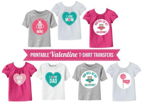 Free Printable Valentine T-shirt transfers!