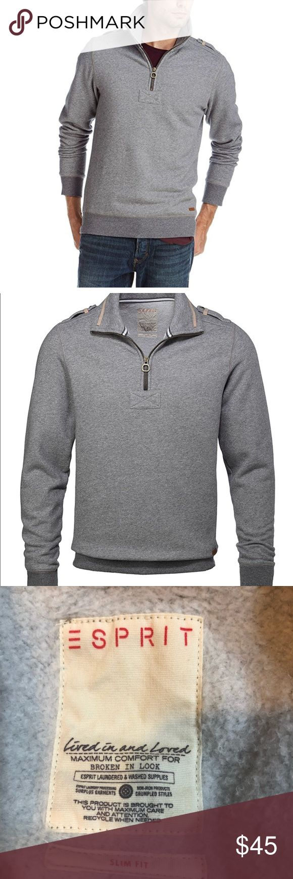 Men's Esprit Herren Sweatshirt size XXL Amazing condition Men's Esprit Herren Sweatshirt XXL. This shirt is pre owned however it's in almost perfect condition. Slim fit. Notice the shoulder details and also the cool Esprit leather tan on the bottom of the shirt. Esprit Shirts Sweatshirts & Hoodies