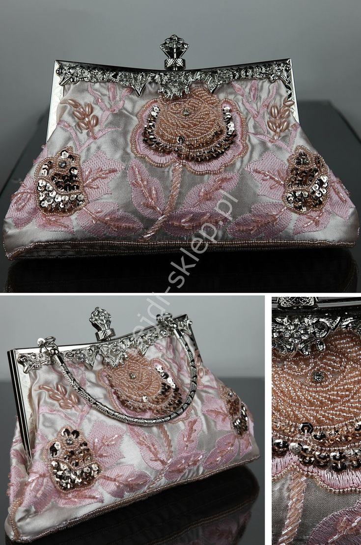 Jasnoróżowa torebka w stylu retro | torebki barok hand made - RĘKODZIEŁO