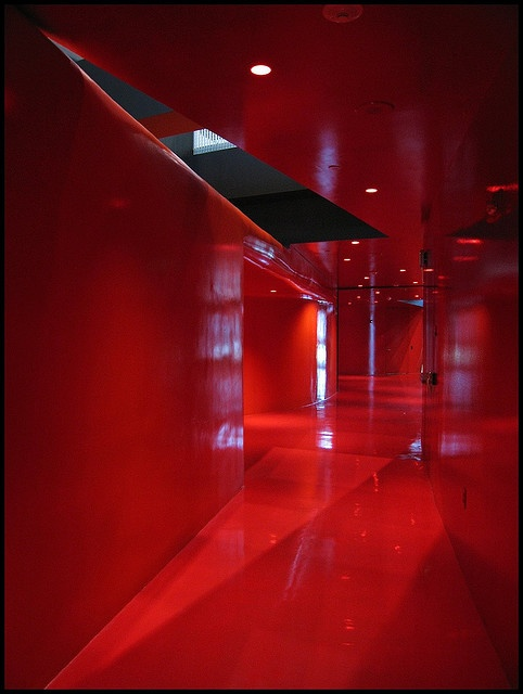 Seattle Koolhaas Library ~ this is the RED floor.  Everything is red...walls, floors, doors, everything!