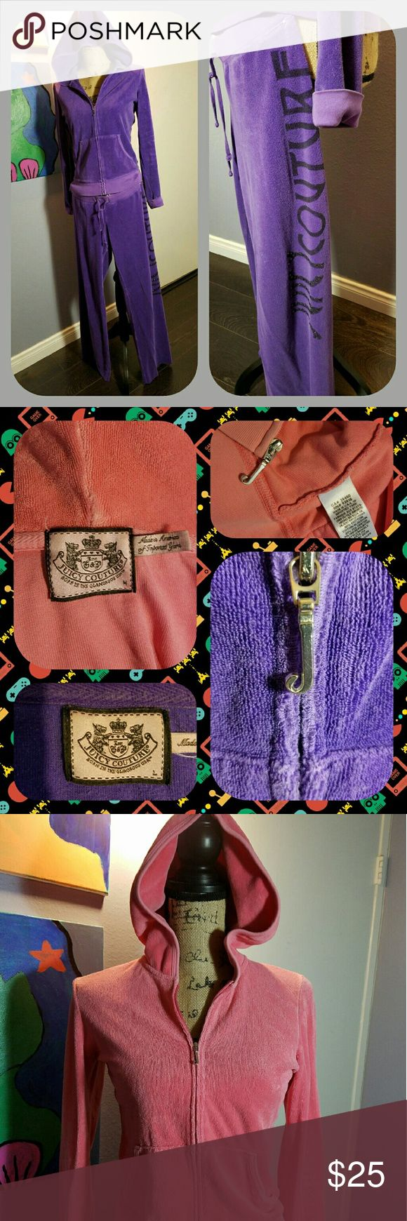 Juicy Couture bundle Here is a JUICY COUTURE bundle! Terry cloth jogging suits. The purple jacket is L and lots of embellishments. The purple pants are M. The PINK jacket also has the trademark Juicy *J*. All super soft fabric. Bright colors. Fancy for the gym or casual wear. Quality. Priced to sell!!! Juicy Couture Other