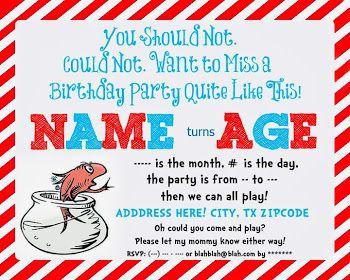 Free Dr. Seuss birthday invitation