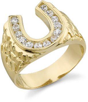 14K Gold Men's Horseshoe Ring