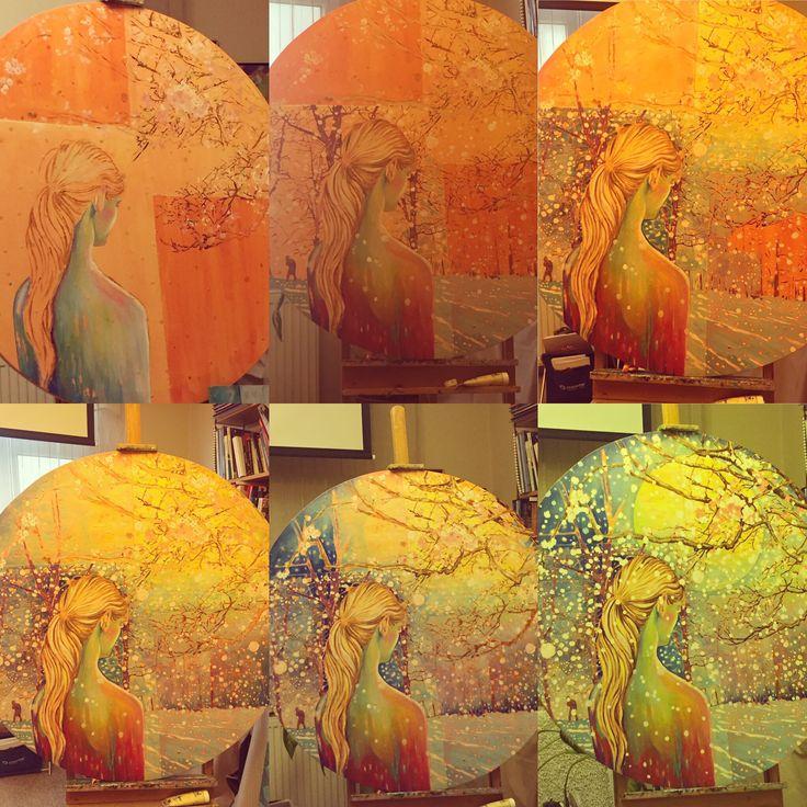 100cm daire tuval üzerine yağlıboya Aziz Nesin- Badem Ağacı www.melikecagici.com