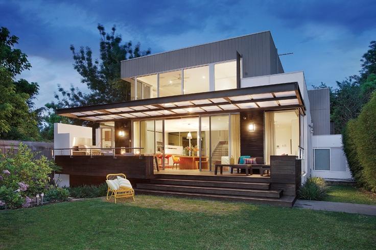 Dusk photo of Balwyn House's exceptional rear deck.....