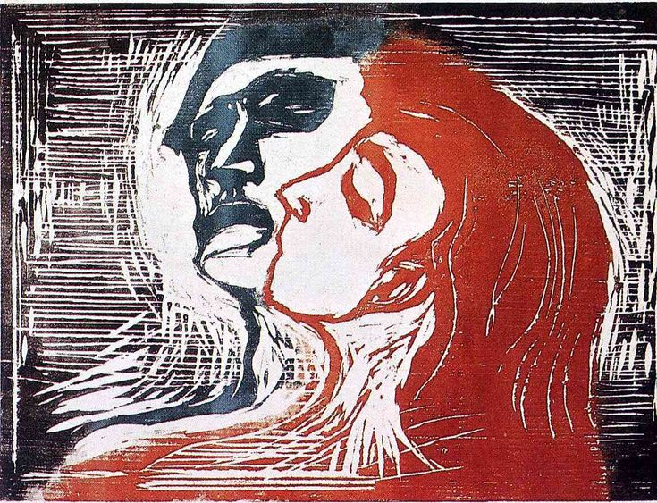 Man and Woman I - Edvard Munch. Use of contrasting colors in Man-Woman woodcuts