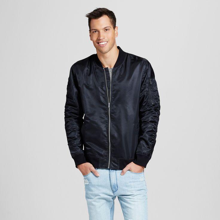 Men's Nylon Bomber Jacket Black XL - Jackson