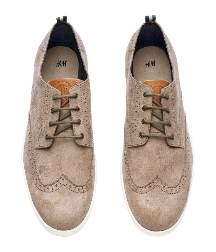Sneakers in imitation suede with a brogue pattern. | H&M Men's Classics