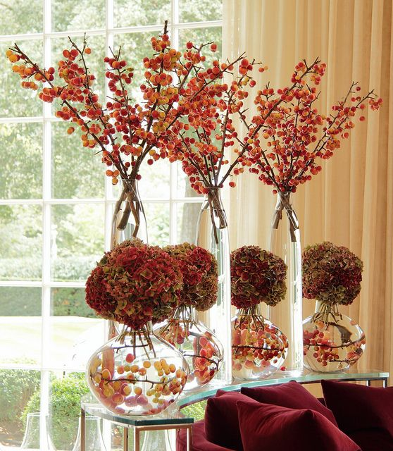 Autumnal option: huge branches of crab apples and rose hips to create a tree effect, which we would put in zinc vases.  by Ken Marten, via Flickr