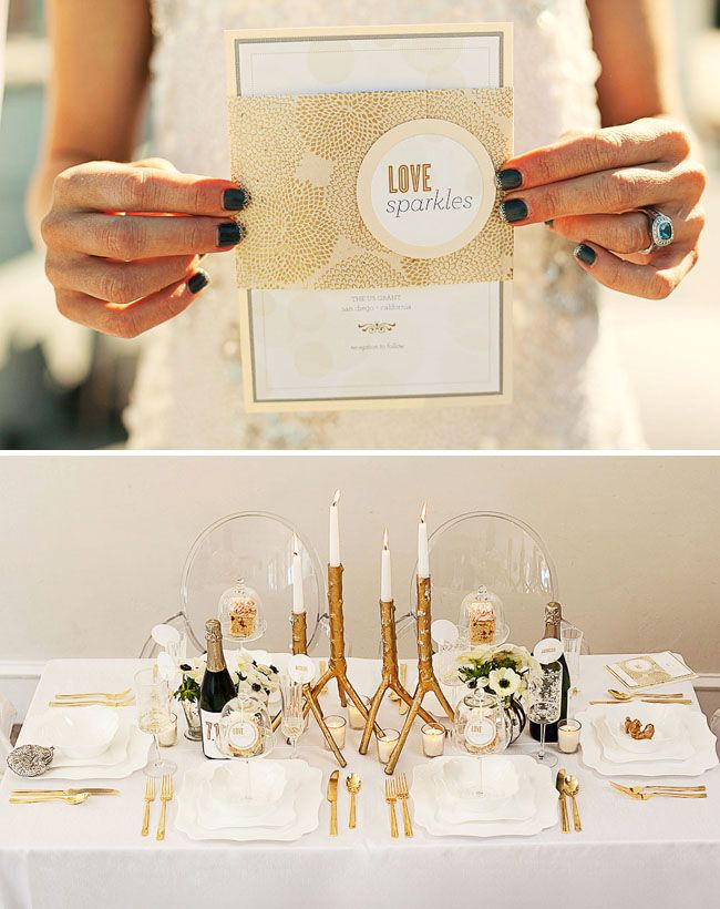 gold and white wedding invitations%0A Gold wedding invitations and golden branches for the table
