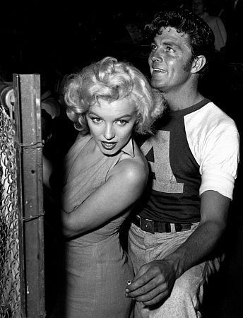 Marilyn Monroe & Dale Robertson at Hollywood Enterainers Baseball Game, c. 1952.