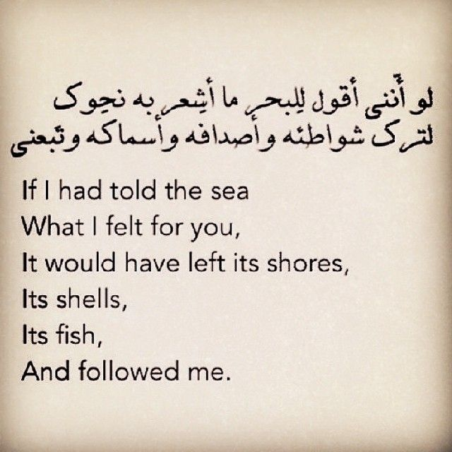 If I had told the sea what I felt for you, it would have left its shores... - Nizar Qabbani, 1923-1998