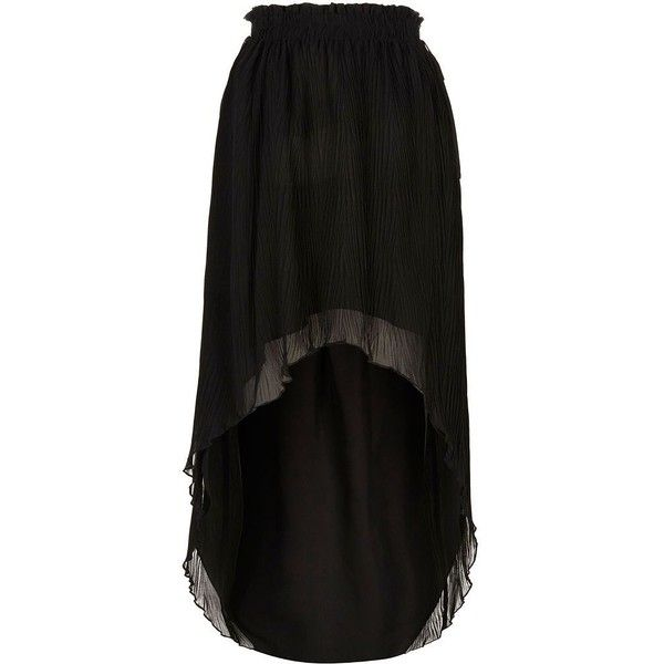 River Island Black pleated high-low maxi skirt ($70) ❤ liked on Polyvore featuring skirts, maxi skirt, black, women, hi low maxi skirt, tall maxi skirt, high low skirt, ankle length skirts and short in front long in back skirt