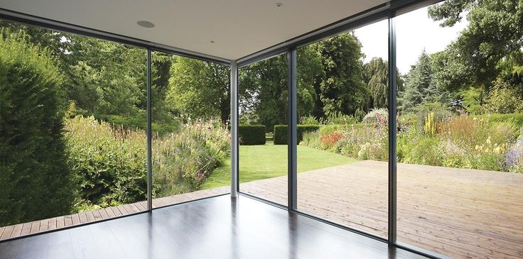Looking through the opening corner of IQ's sliding glass doors on this L shaped extension