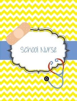 School Nurse binder. Such a cute binder for the school nurse. When the computer goes down (and we know they do), this binder will be accessible with all of the information the school nurse could need. Includes: Cover with stethoscope and band-aid with yellow chevron.