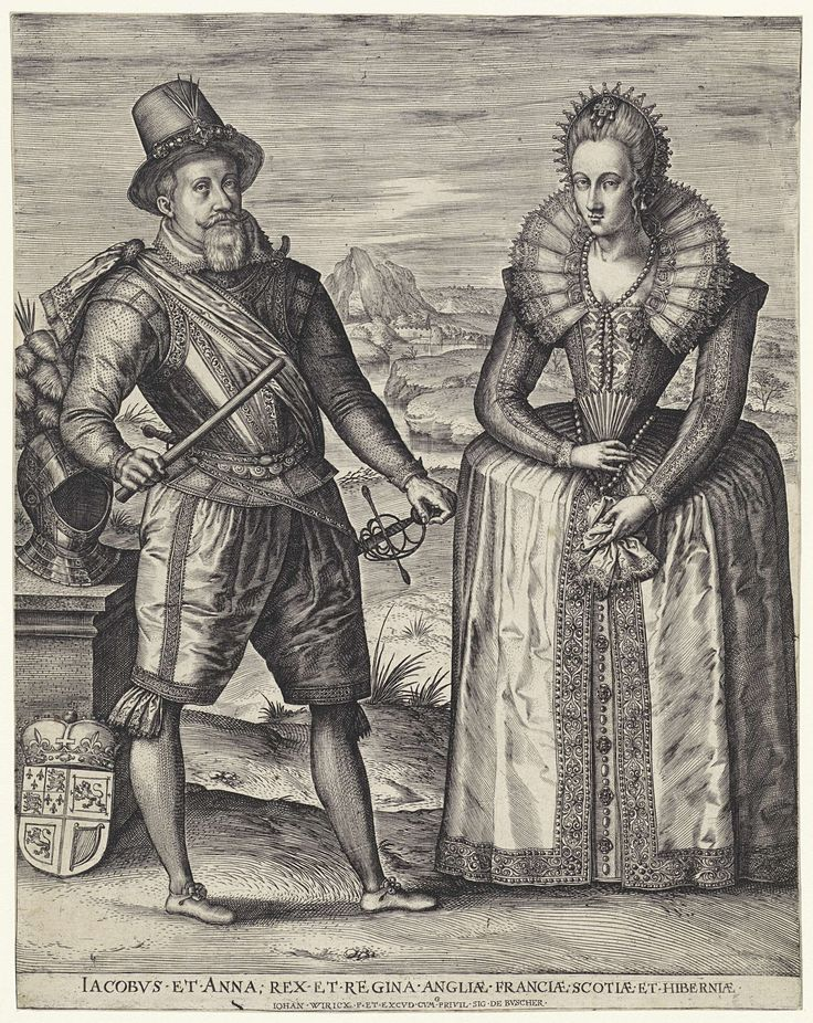 Dubbleportrait of Jacob I and Anna of Denmark, King and Queen of England, Johannes Wierix, 1601 - 1605.