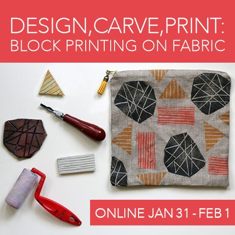 Definitely signing up for this, for my #YearOfMaking Design, Carve, Print: Block Printing on Fabric e-course with Jen Hewett #YearOfMaking