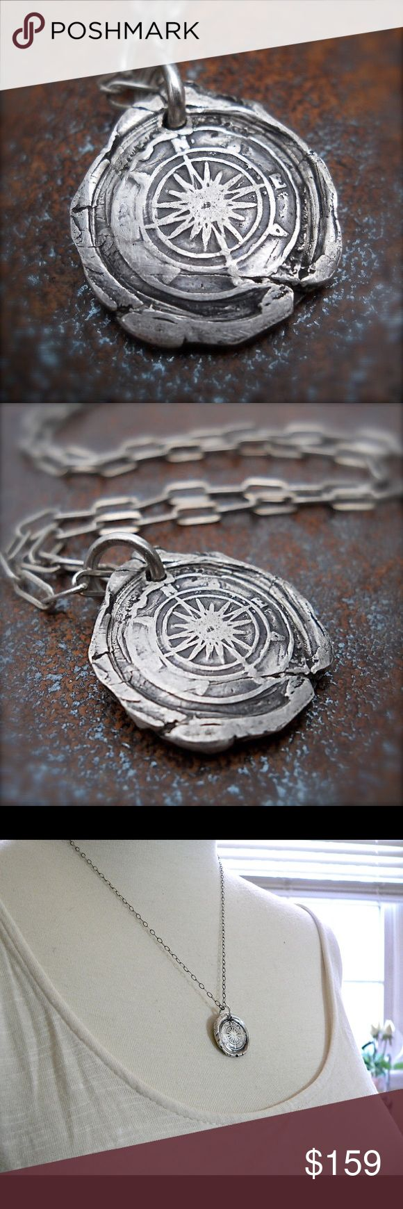 """Handmade Compass Necklace - STAY on COURSE $159 Oxidized Sterling 3/4"""" ( 20mm) Compass Pendant on 20"""" Sterling Chain .......I make these one by one, for women and men. Ask me about thicker chains for men. The 3rd photo is the chain you will receive....Find your True North. A compass represents focus and direction.....The pendant is made using reclaimed sterling and I have made this piece for  eco-conscious celebs: Leonardo Dicaprio, Pink, Sting, Sheryl Crow, Cameron Diaz, Hayden Panettiere…"""