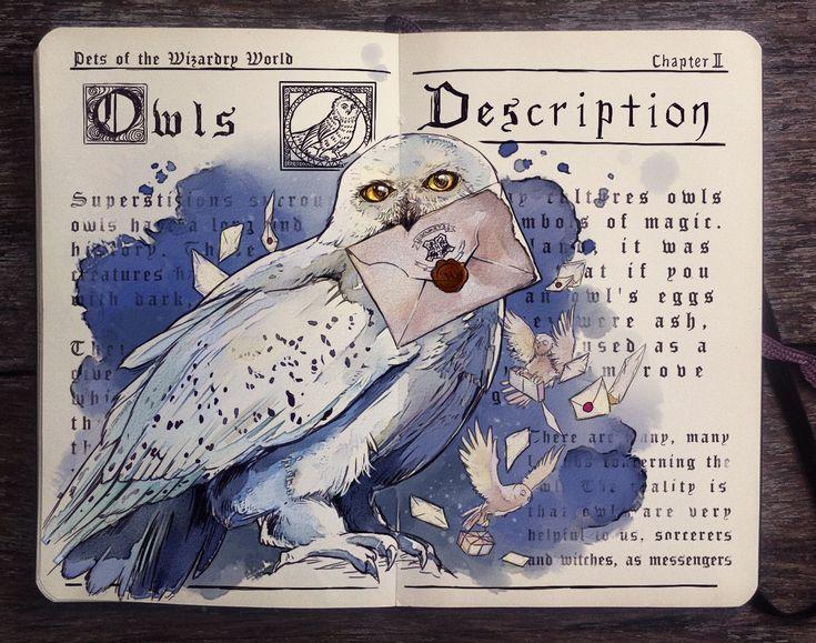 Resultado de imagen de lechuzas Harry Potter volando ilustracion
