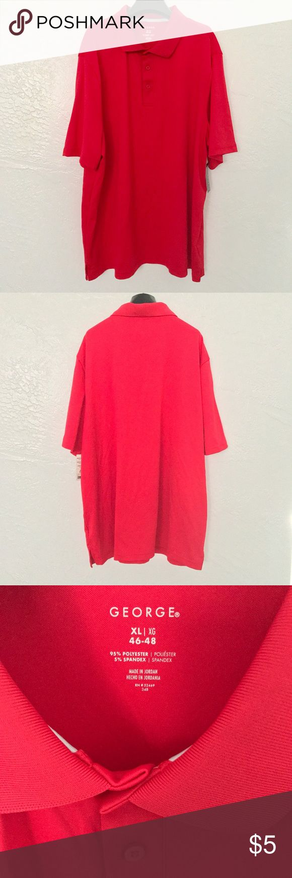 NWT George Moisture Wicking UPF15 Golf Shirt Sz XL NWT George Moisture Wicking UPF15 Red Golf Shirt Size XL  20% bundle discount! Smoke- & pet-free home Any questions? Just ask! George Shirts Polos