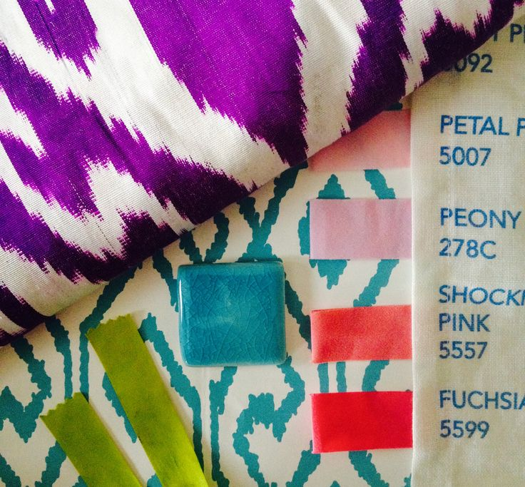 """""""I love mixing colors, like pinks, purples, and vivid green with aqua and turquoise. Here, I'm using purple Ikat from Madeline Weinrib, Aqua wallpaper from China Seas, Matouk's vivid pinks for bedding, and a citrusy green to keep things fresh."""" -Grant K. Gibson As seen here in a palette by Gibson.   - ELLEDecor.com"""
