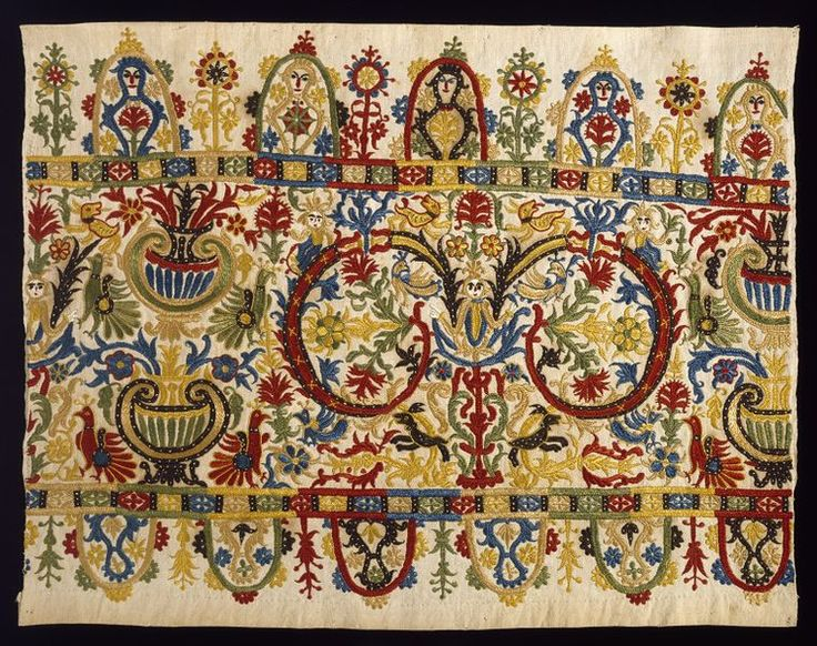 Skirt border Crete, Greece (made) Date: 1733 (made) Grammatiko Materials and Techniques: Linen embroidered with silk thread