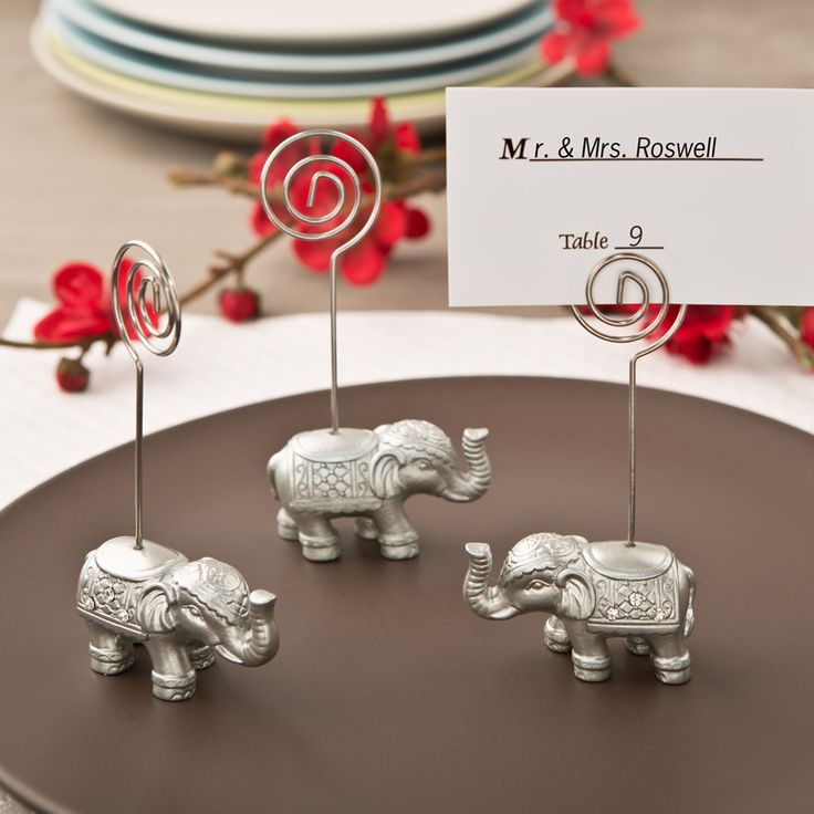 silver heart wedding place card holders%0A Good Luck Silver Indian Elephant Place Card or Photo Holder