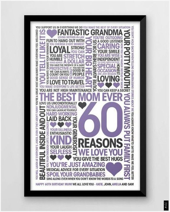 Personalised 60 Reasons We Love You Print Gift For Mothers 60th