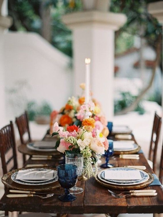 Vintage Spanish inspired wedding tablescape