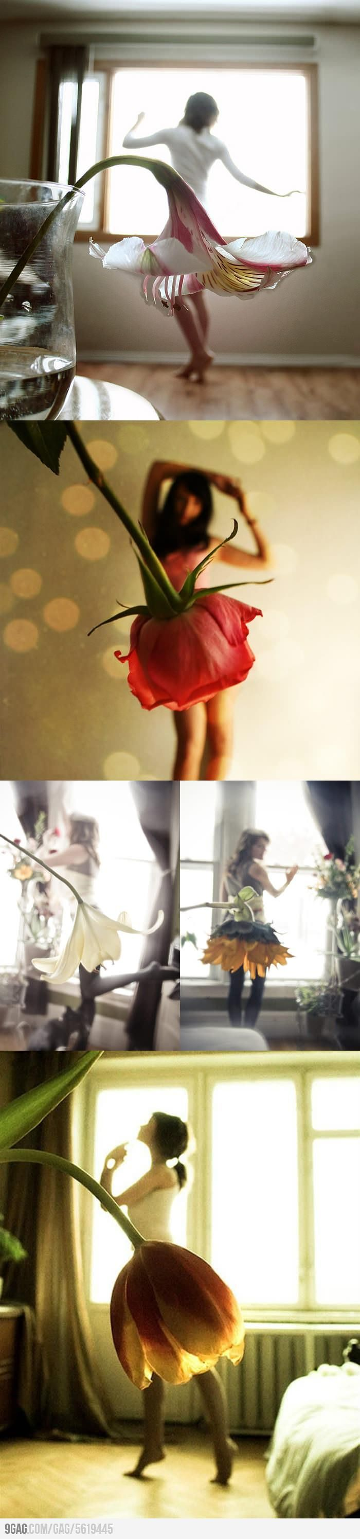 Love how the flowers line up as clothing items instead of just random flowers in front of out of focus women.