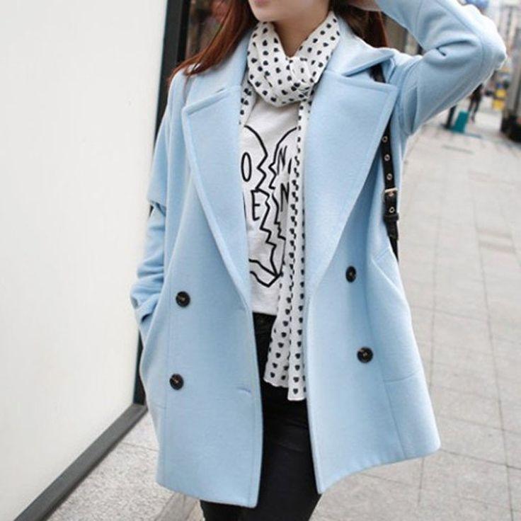 Autumn / Winter Medium-Long Solid Color Turn-Down Collar Coat
