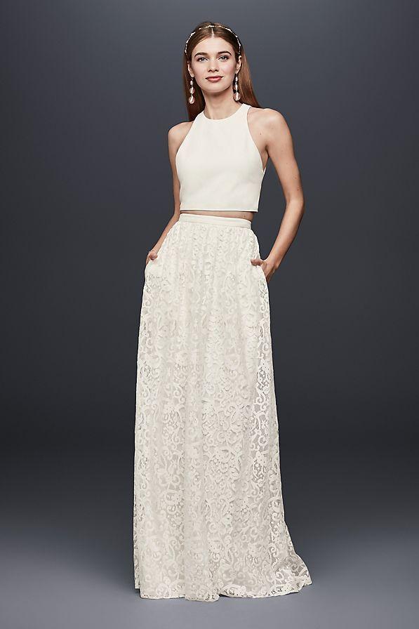 Crepe Crop Top And Lace Maxi Skirt Set David S Bridal Maxi Lace Skirt Crop Top Dress Lace Maxi