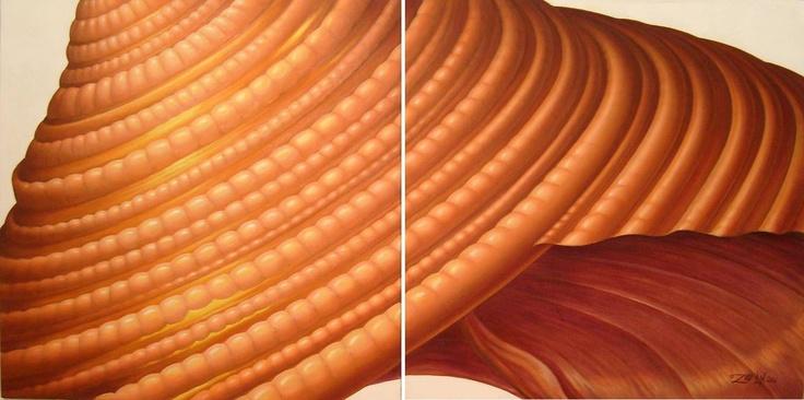 Sienna Spiral diptych
