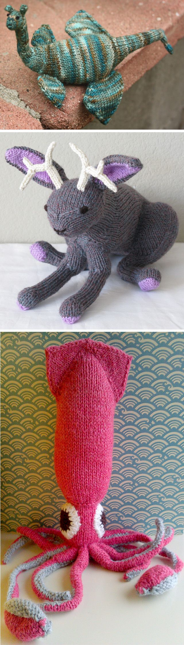 "Knitting Patterns for Loch Ness Monster, Jackalope, and Kraken - These legendary animal toys are included in the book Amigurumi Knits: Patterns for 20 Cute Mini Knits by Hansi Singh. Sizes depend on yarn weight. Nessie is about 15 inches long in worsted according to some Ravelrers. The hare with antlers Jackalope measures nearly 12"" from tail to nose. The giant squid Kraken appears to be about 12 inches tall. Pictured projects by oboegoddess, jessdhill, and Cherrytreeknits."