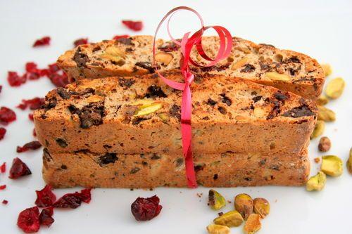 Cadeau gourmand : Biscottis pistaches et canneberges