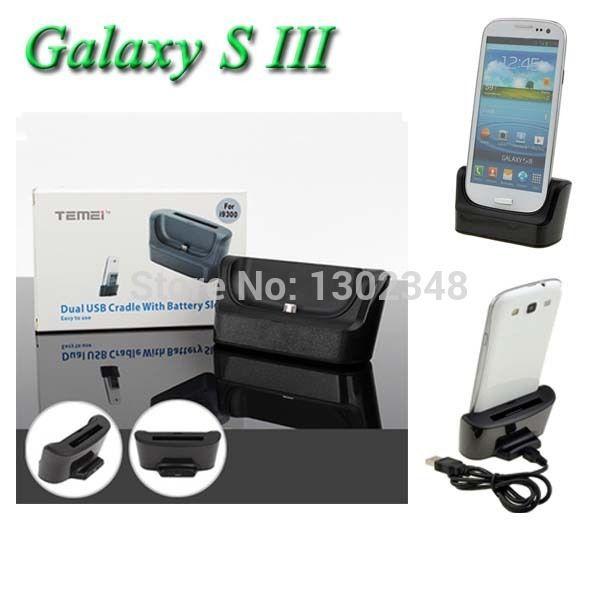 2in1 Двойной Синхронизации USB 3.0 Desktop Зарядки Док Колыбели Зарядное Устройство + Кабель USB для Samsung Galaxy S3 S 3 SIII III i9300 i747 T999 L710