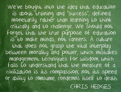 Insight from Pulitzer-winning journalist and best-selling author Chris Hedges. SHARE if you agree.: Chris Hedges, True Purpose, Inspiration, Quotes, Truth, Career, Wisdom, Thought, Education