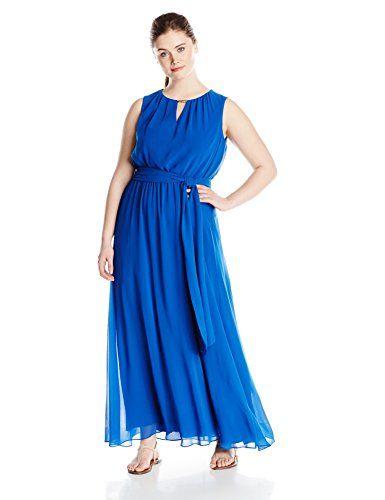 Vince Camuto Women's Plus-Size Sleeveless Blouson Maxi Dress with Neck Hardware, Royal, 16