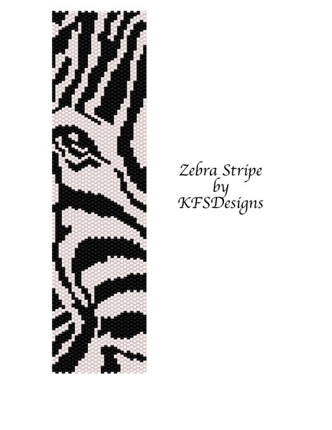 Shipping is FREE Peyote Stitch Beading Pattern - Zebra Stripe Miyuki Delica beads size 11 were used for the pattern. The type of beads, size and color are entirely at your discretion. Working knowledge of Peyote Stitch is required. Please be aware that finished product may vary with bead sele...