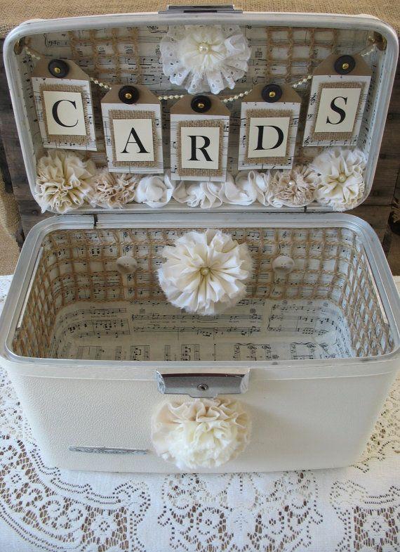 Vintage Suitcase Wedding Card Box Wedding Card Holder Wedding Decoration Ivory Off White Creme