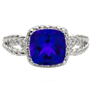 Cushion Cut Blue Sapphire September Gemstone White Gold Diamond Braided Ring Available Exclusively at Gemologica.com
