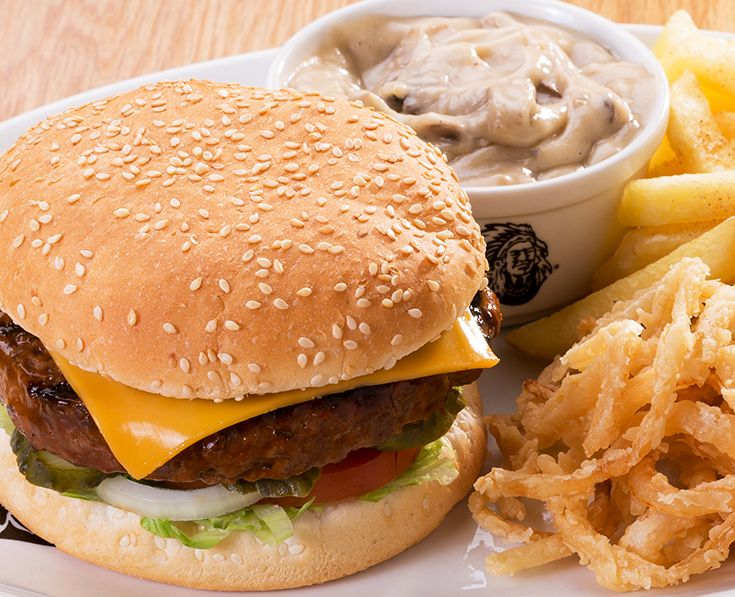 Cheddamelt Burger: Tangy melted cheese and creamy mushroom or pepper sauce. Read more: https://www.spur.co.za/menu/burgers/
