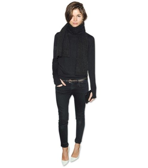 Emily Weiss pointy white heels with crop black jeans cowl neck sweater and scarf