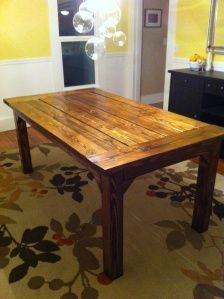 Farmhouse style Table...step by step instructions on how to make the table. I would use barn wood for this.