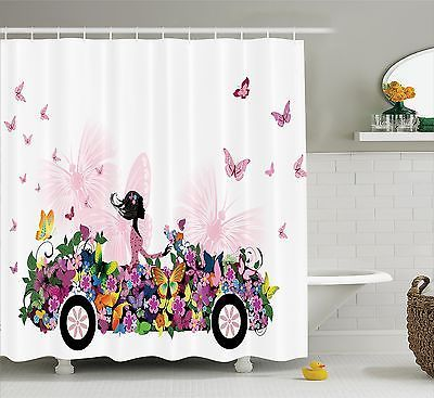 Girl Shower Curtain Floral Car Butterflies Bathroom Decor