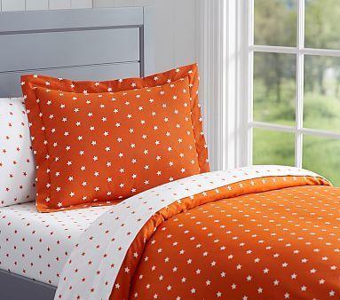 star flannel duvet cover orange fullqueen