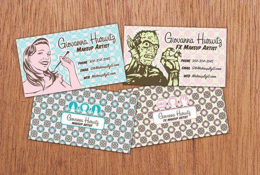 Cartões de visitas criativos para maquiadoras (es) | Melhores Makes
